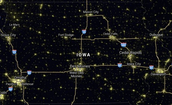 IA nighttime satellite image