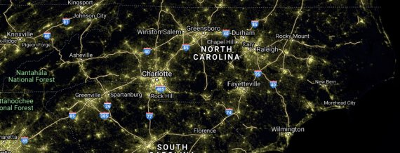 NC nighttime satellite image