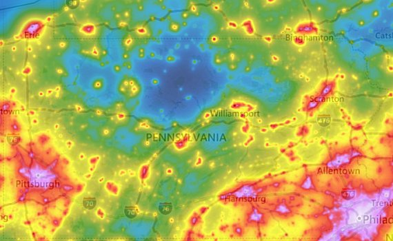 PA light pollution map