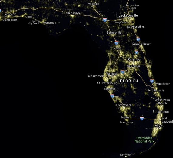 FL nighttime satellite image
